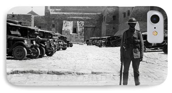 A British Soldier In Front Of Nativity Church Phone Case by Munir Alawi