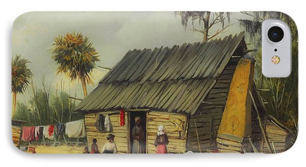 A Cabin Scene With Washing On The Fence IPhone Case by William Walker