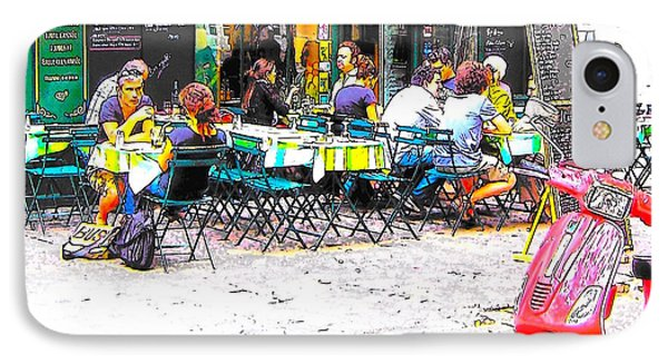 A Cafe Scene In Paris IPhone Case by Jan Matson