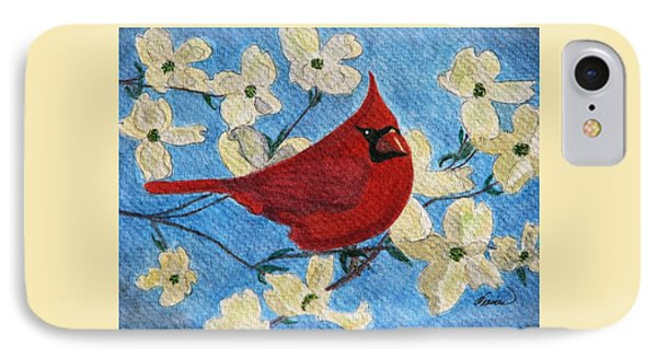 A Cardinal Spring IPhone Case by Angela Davies