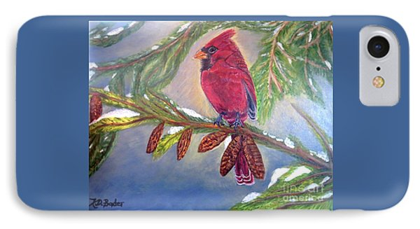 IPhone Case featuring the painting A Cardinal's Sweet And Savory Song Of Winter Thawing Painting by Kimberlee Baxter