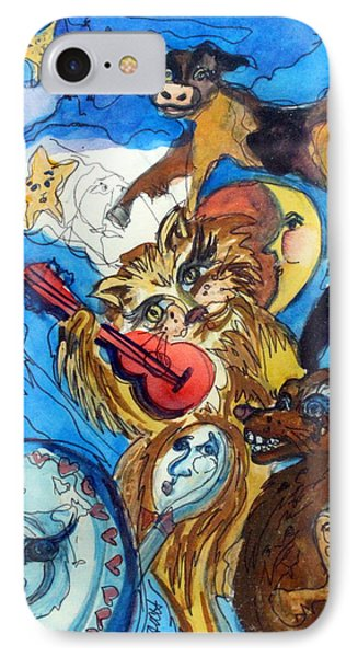 A Cat And A Fiddle IPhone Case by Mindy Newman