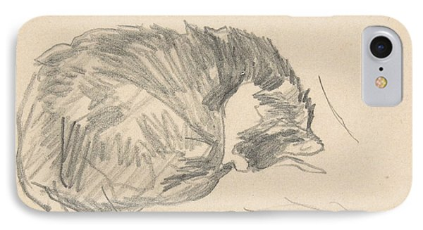 A Cat Curled Up, Sleeping IPhone Case by Edouard Manet