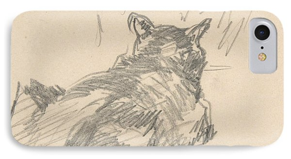 A Cat Resting On All Fours, Seen From Behind IPhone Case by Edouard Manet