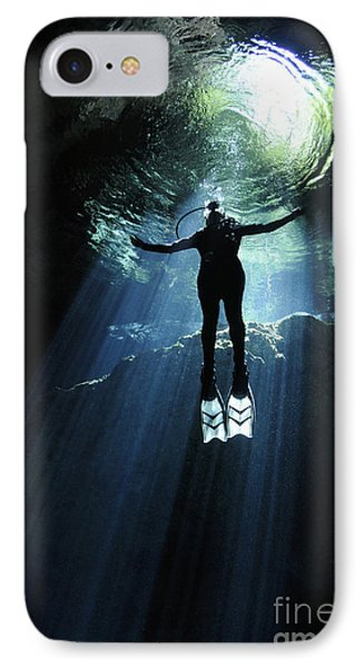 A Cavern Diver Ascends In The Cenote Phone Case by Karen Doody