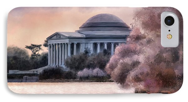 IPhone Case featuring the digital art A Cherry Blossom Dawn by Lois Bryan