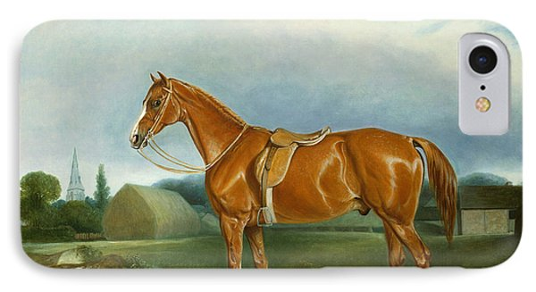 A Chestnut Hunter And A Spaniel By Farm Buildings  IPhone Case