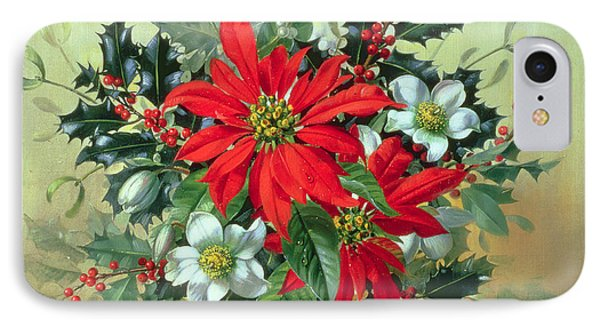 A Christmas Arrangement With Holly Mistletoe And Other Winter Flowers IPhone Case by Albert Williams