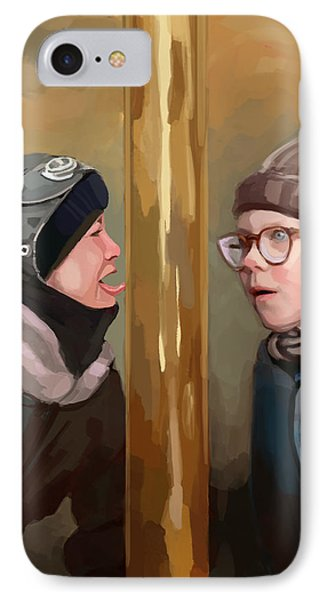 A Christmas Story Tongue Stuck To Pole IPhone Case by Brett Hardin