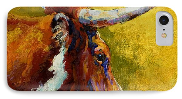 Cow iPhone 7 Case - A Couple Of Pointers - Longhorn Steer by Marion Rose