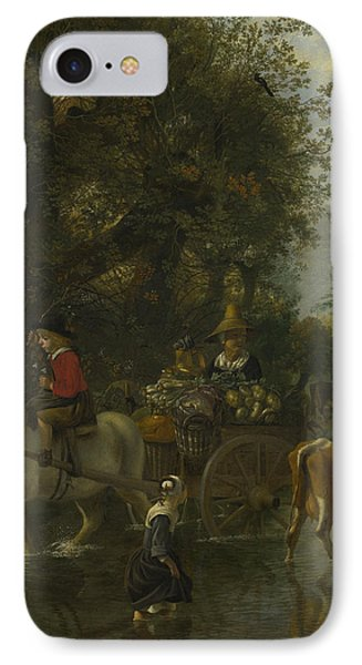 A Cowherd Passing A Horse And Cart In A Stream IPhone Case by Jan Siberechts