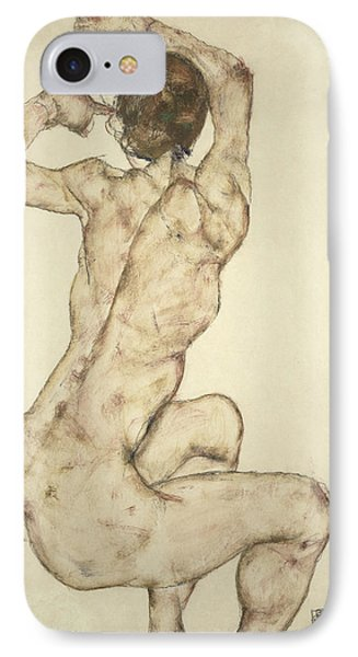 A Crouching Nude Phone Case by Egon Schiele