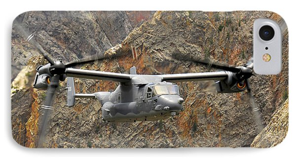 A Cv-22 Osprey Flies Over The Canyons Phone Case by Stocktrek Images