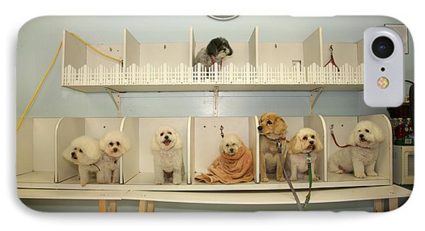 A Day At The Doggie Day Spa Phone Case by Michael Ledray