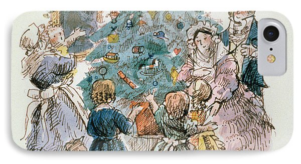 A Dickensian Christmas  The Tree IPhone Case by Carol Walklin