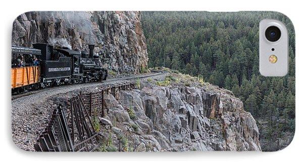IPhone Case featuring the photograph A Durango And Silverton Narrow Gauge Scenic Railroad Train Along A San Juan Mountains Precipice by Carol M Highsmith