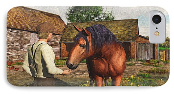 IPhone Case featuring the digital art A Farmer And His Horse by Jayne Wilson