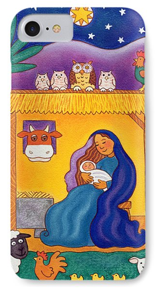 A Farmyard Nativity IPhone Case by Cathy Baxter