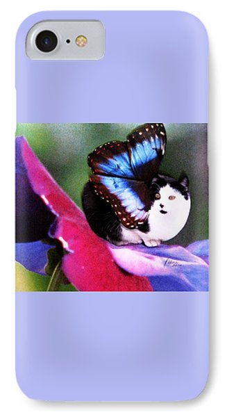 A Feline Fairy In My Garden Phone Case by Angela Davies