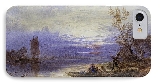A Ferry At Sunset IPhone Case by Myles Birket Foster