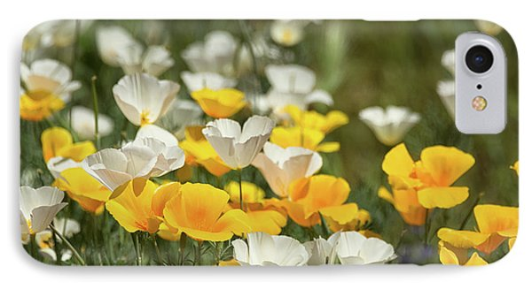 IPhone Case featuring the photograph A Field Of Golden And White Poppies  by Saija Lehtonen