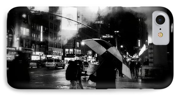 A Foggy Night In New York Town - Checkered Umbrella IPhone Case by Miriam Danar