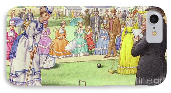 A Game Of Croquet At The All England Club At Wimbledon IPhone Case by Pat Nicolle