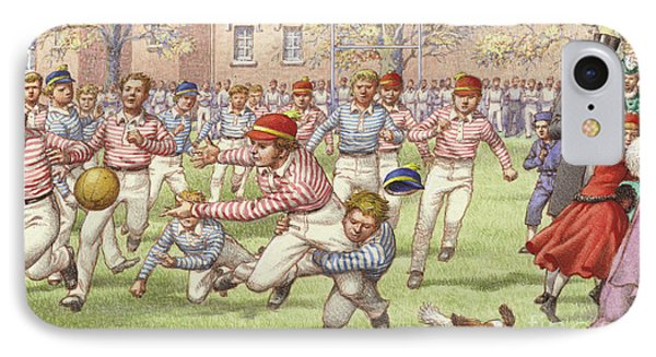 A Game Of Rugby Football Being Played At Rugby School IPhone Case by Pat Nicolle