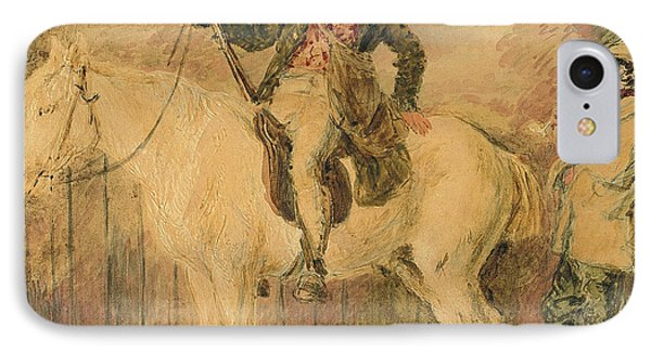 A Gamekeeper On A Horse And Another Man Conversing IPhone Case by William Henry Hunt