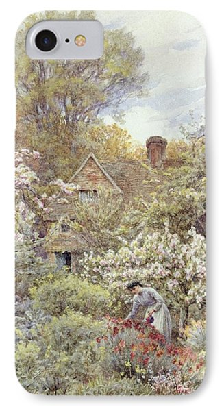 A Garden In Spring Phone Case by Helen Allingham