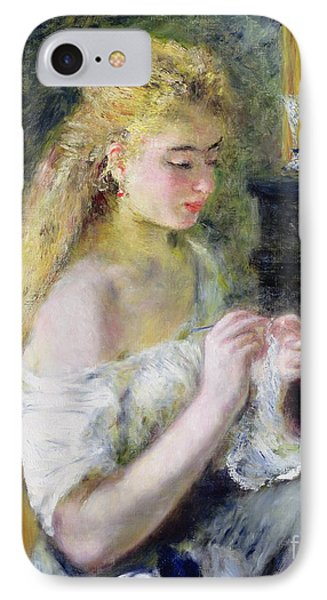 A Girl Crocheting IPhone Case by Pierre Auguste Renoir