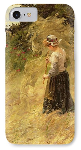 A Girl Harvesting Hay IPhone Case by Eugene Leon Labitte