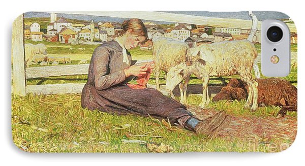 A Girl Knitting IPhone Case by Giovanni Segantini