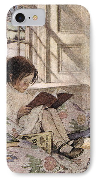 A Girl Reading IPhone Case by Jessie Willcox Smith