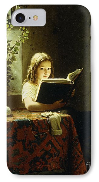 A Girl Reading IPhone Case by Johann Georg Meyer