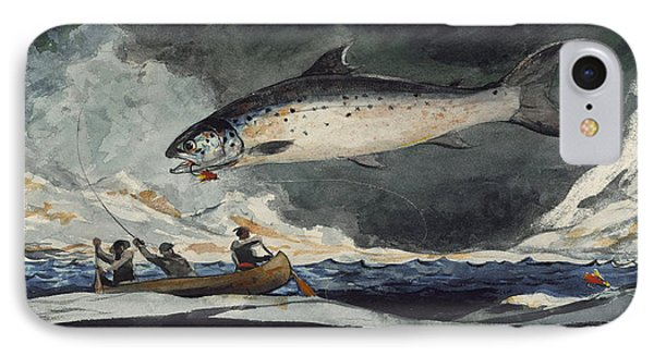 IPhone Case featuring the painting A Good Pool. Saguenay River by Winslow Homer