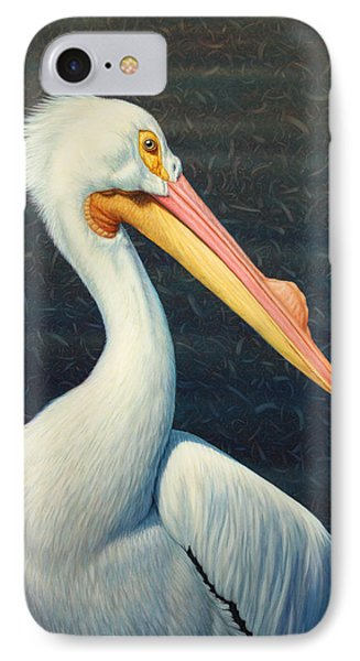 A Great White American Pelican IPhone Case by James W Johnson