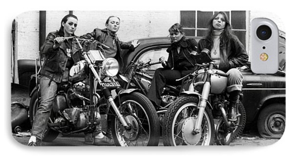 A Group Of Women Associated With The Hells Angels, 1973. IPhone Case by Lawrence Christopher