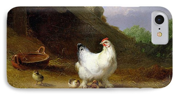 A Hen With Her Chicks IPhone 7 Case by Eugene Joseph Verboeckhoven