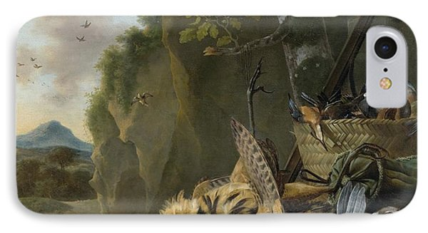 A Hunting Still Life With A Bittern And A Dog In A Landscape IPhone Case by Jan Weenix