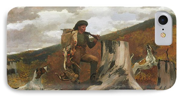 IPhone Case featuring the painting A Huntsman And Dogs - 1891 by Winslow Homer