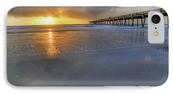 A Jacksonville Beach Sunrise - Florida - Ocean - Pier  IPhone Case