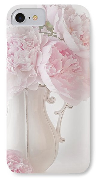 A Jug Of Soft Pink Peonies IPhone Case by Sandra Foster