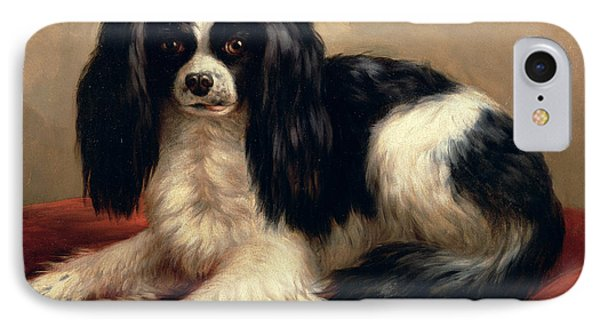 A King Charles Spaniel Seated On A Red Cushion Phone Case by Eugene Joseph Verboeckhoven