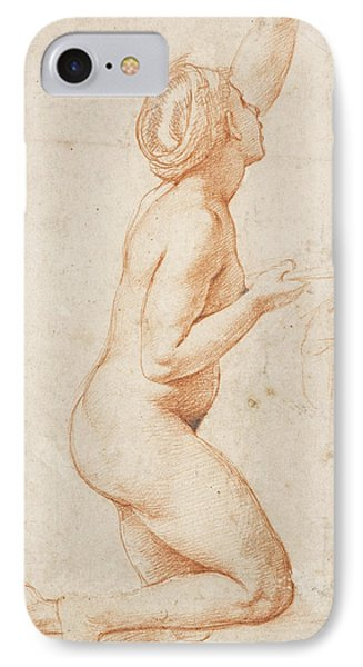 A Kneeling Nude Woman With Her Left Arm Raised IPhone Case by Raphael