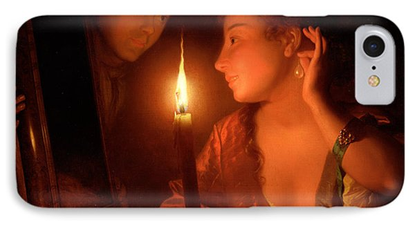 A Lady Admiring An Earring By Candlelight IPhone Case