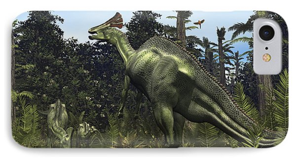 A Lambeosaurus Rears Onto Its Hind Legs Phone Case by Walter Myers