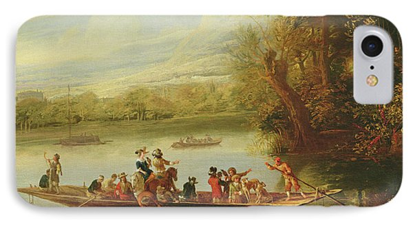 A Landscape With A Crowded Ferry Crossing The Water In The Foreground  IPhone Case