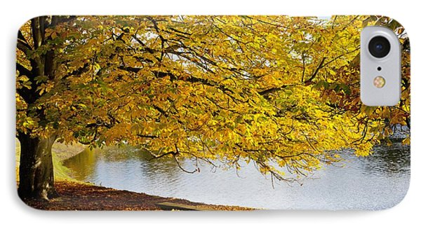 A Large Tree And Bench Along The Water Phone Case by John Short
