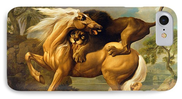 A Lion Attacking A Horse IPhone Case by George Stubbs